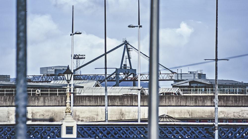 metal poles across metal building