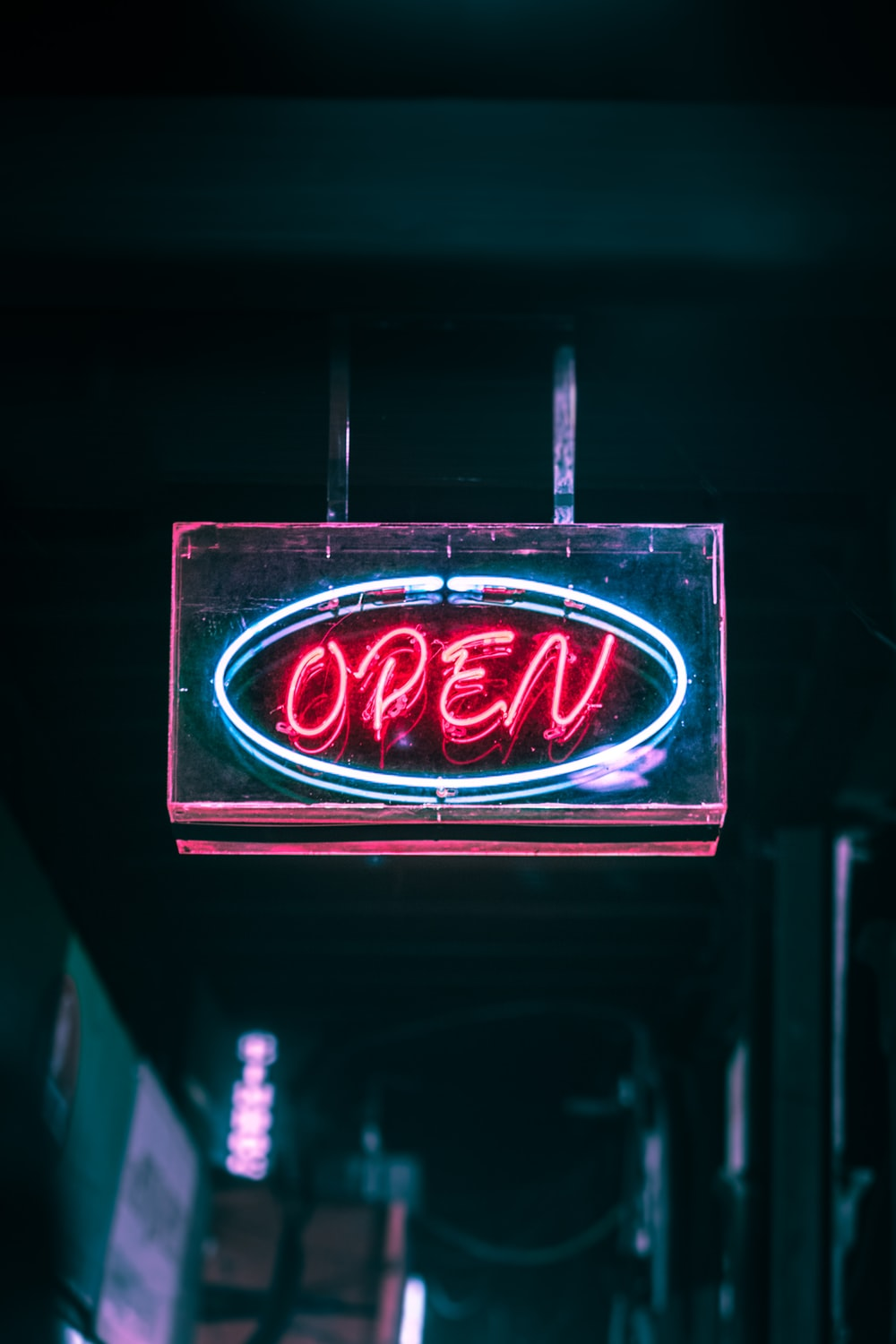 red open neon signage