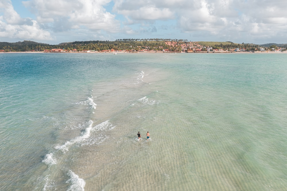 aerial-photography of two people swimming on sea