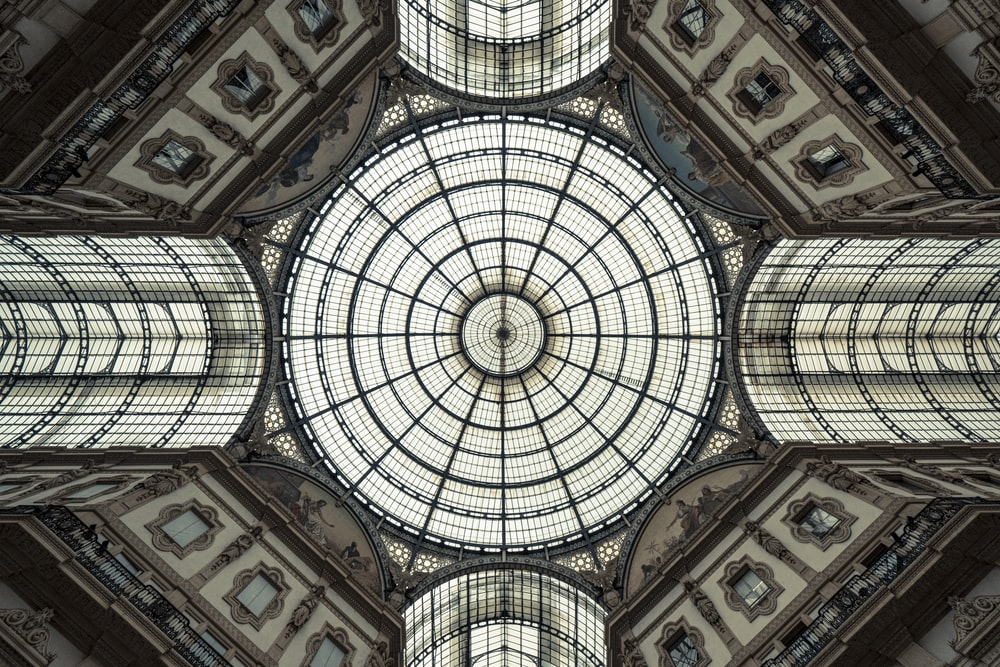 low-angle photography of dome building interior