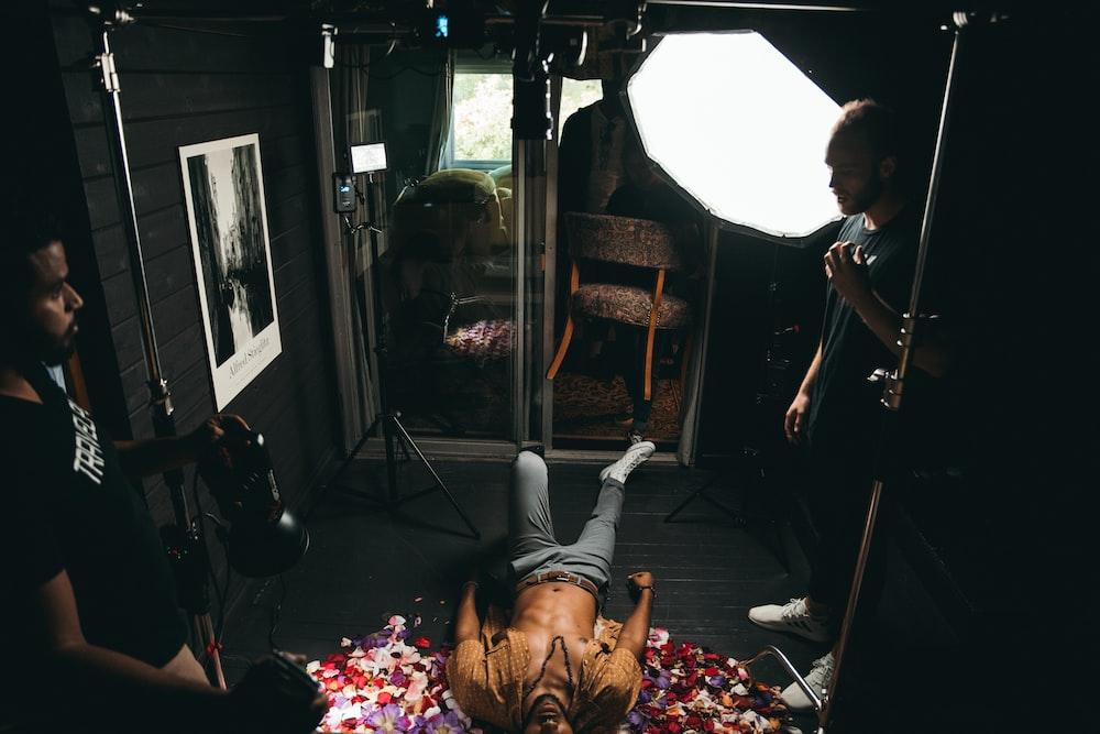 man inside studio