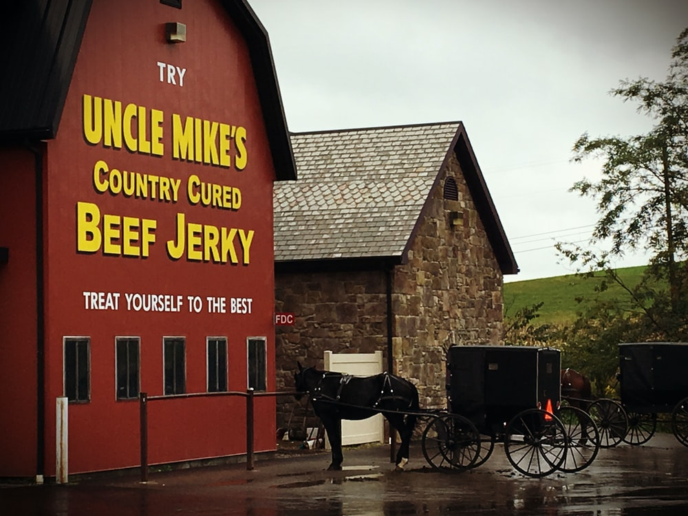 Uncle Mike's Country Cured Beef Jerky signage on red building near horse with carriage