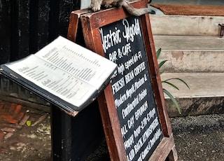 brown and black menu board