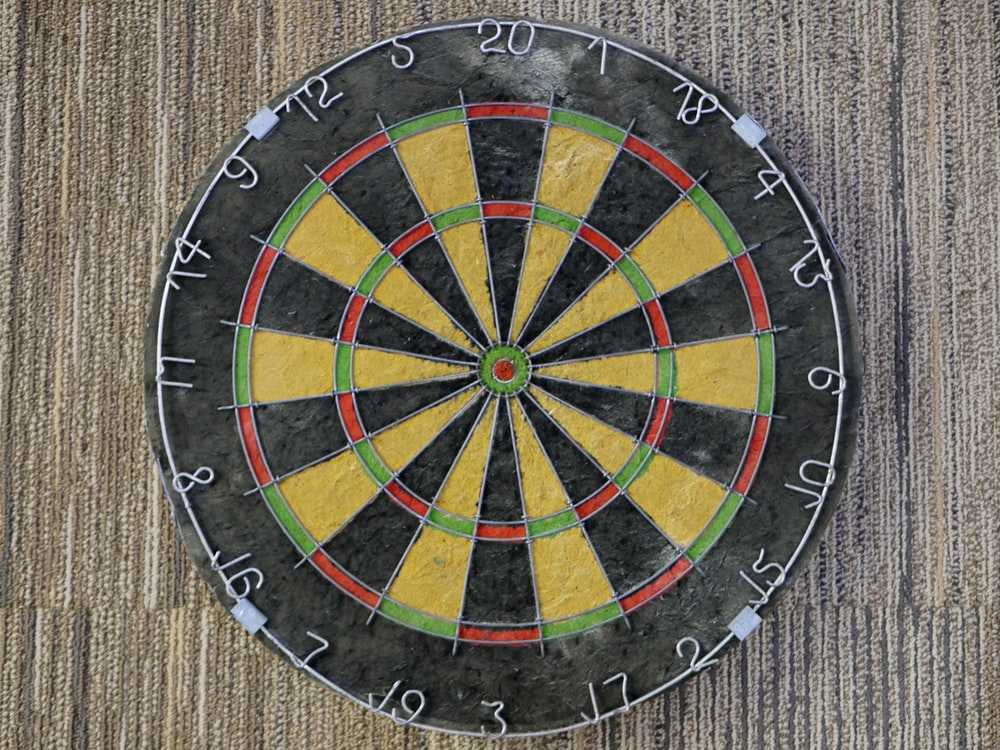 dart board hanging on wall