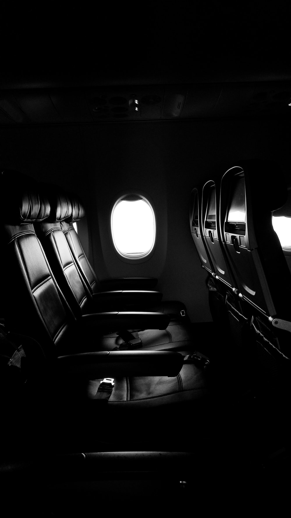 empty chairs of airplane