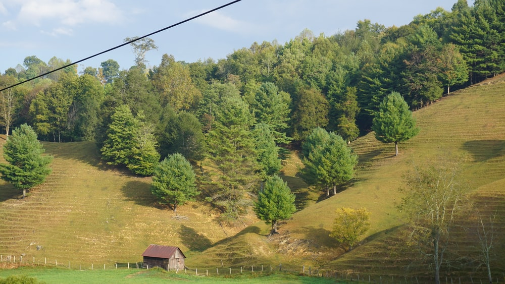 brown barn across hills and trees