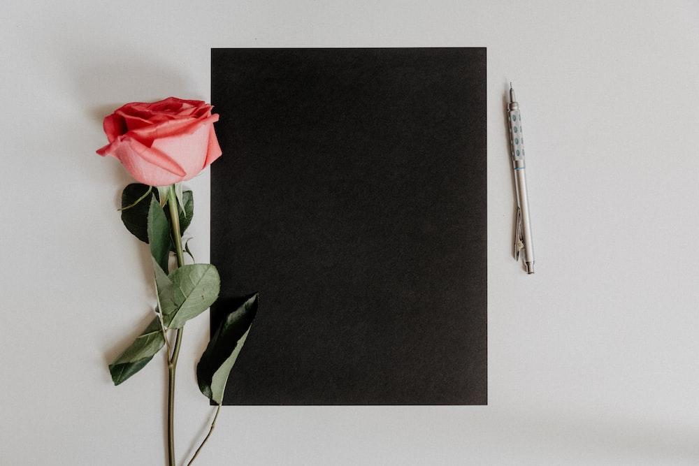 orange rose flower beside notebook and pen