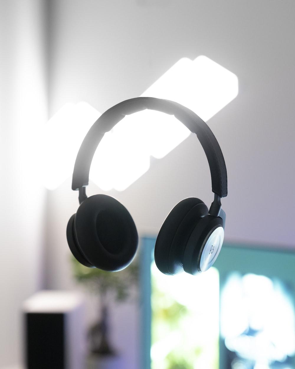 black wireless headset