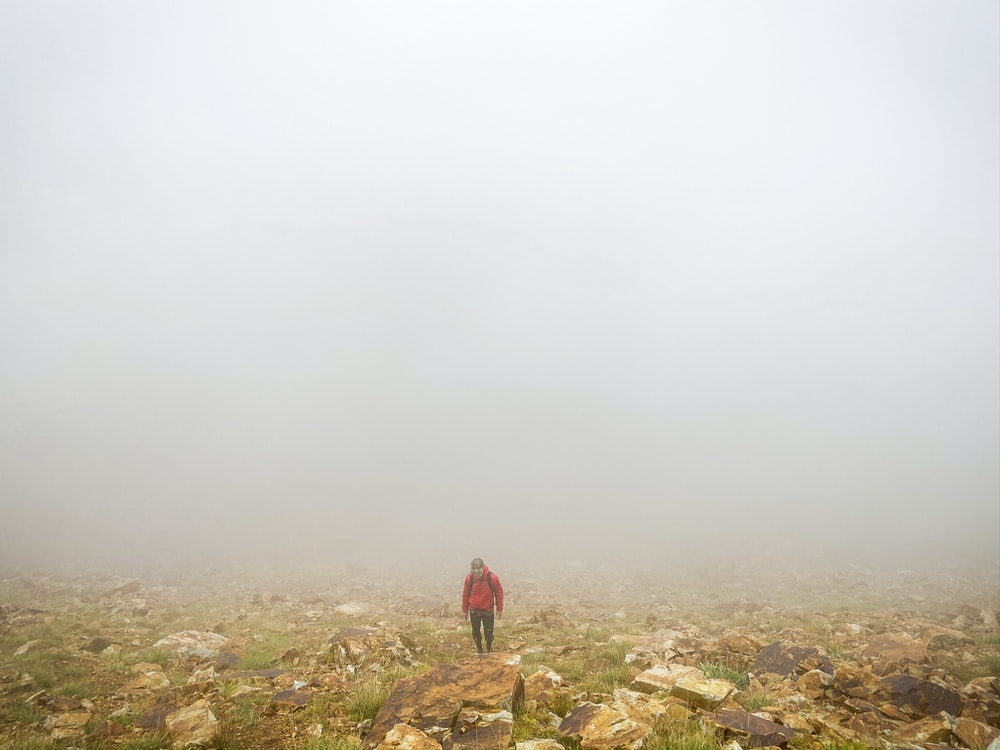 person wearing red jacket standing under foggy weather