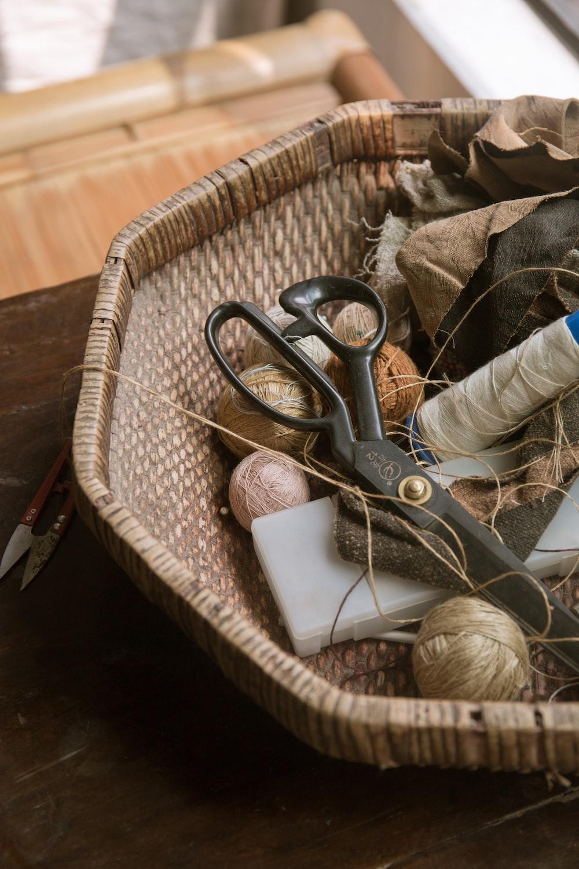 round brown wicker basket