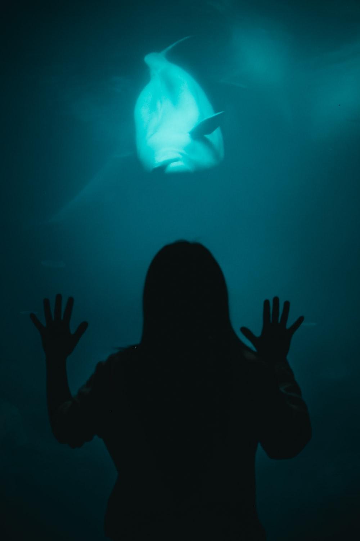 woman beside aquarium