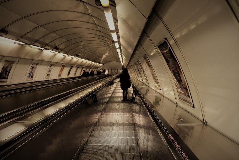 person walking on subway