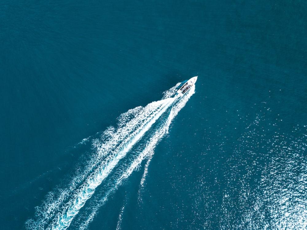 white speedboat on the ocean