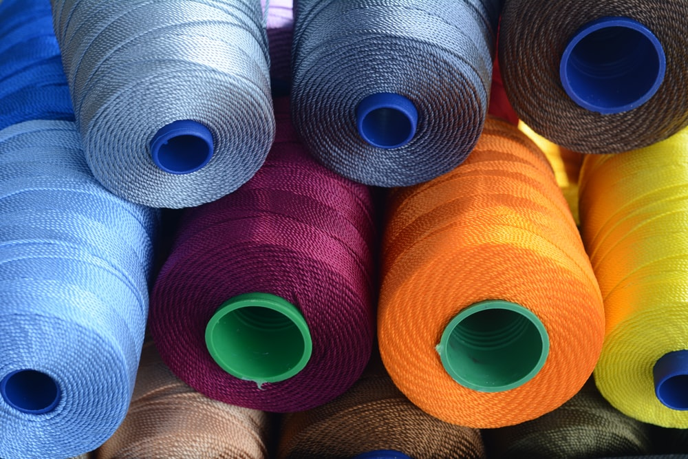 assorted-color threads