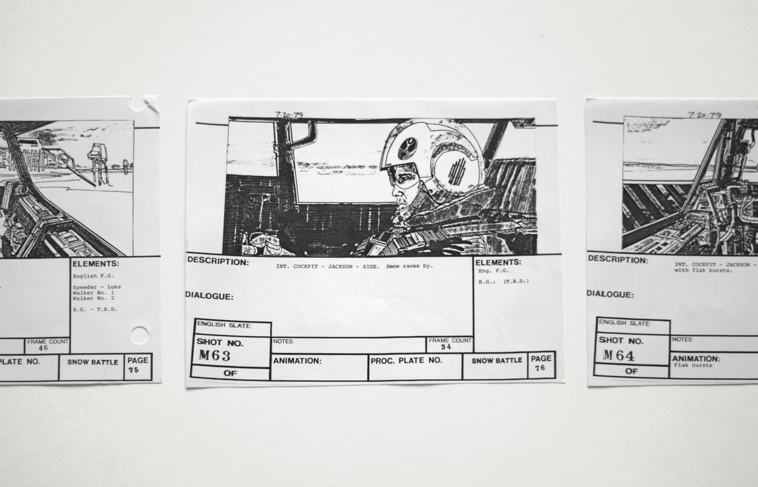 Storyboard reference copies used on set during the filming of The Empire Strikes Back in 1979. The original storyboards were created by artist Joe Johnston.