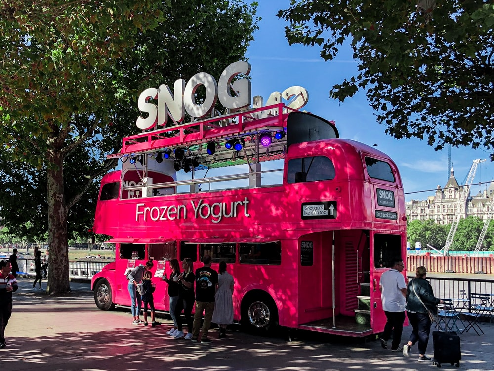 red Frozen Yogurt bus