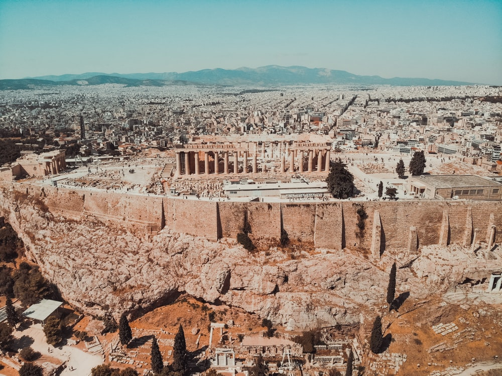 aerial photography of Parthenon