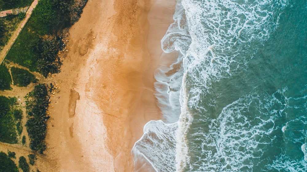 aerial photography of beach seaside