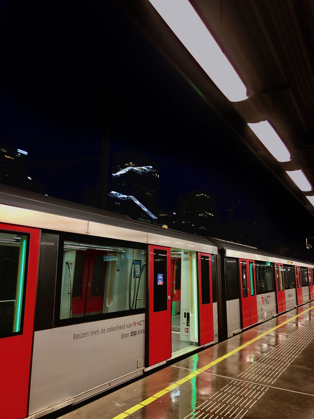 white and red train