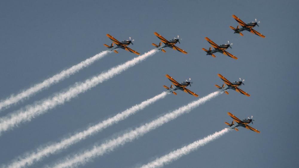 seven brown plane