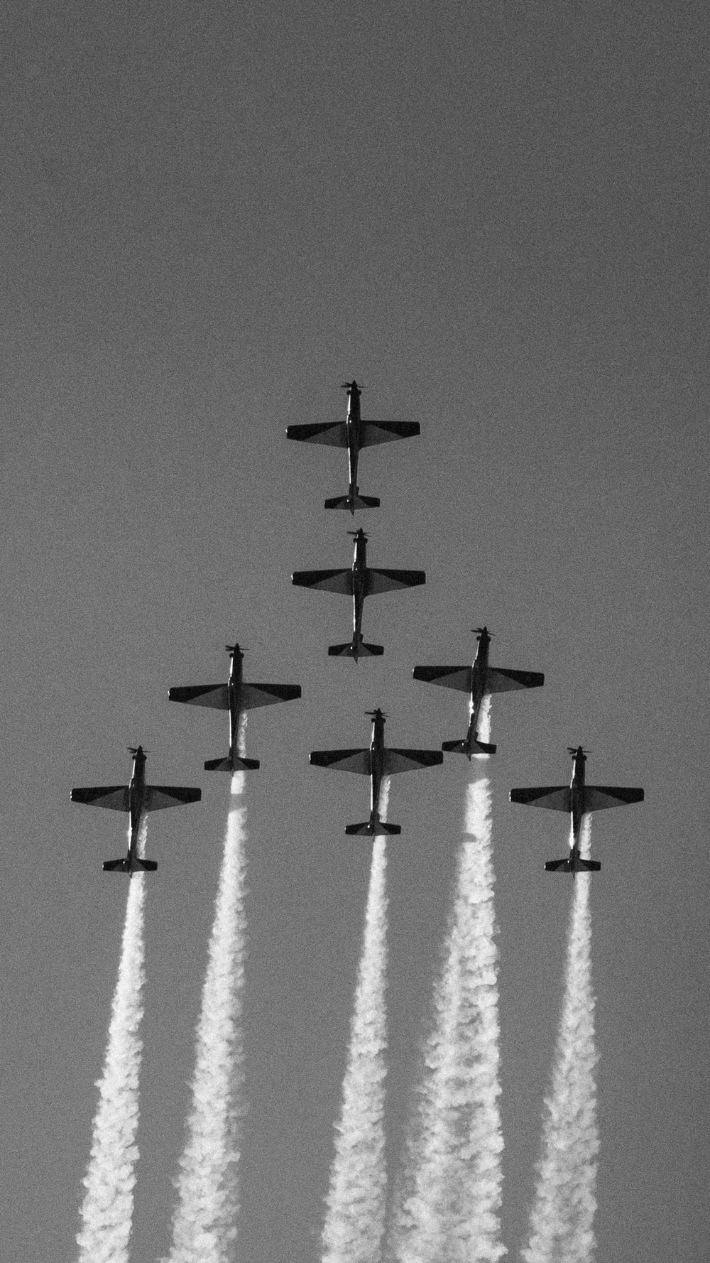 grayscale photo of airshow