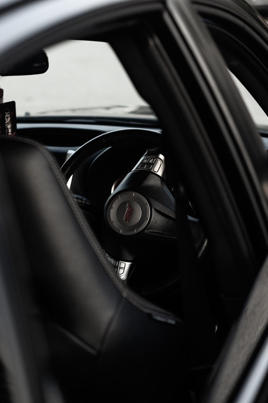 black and grey steering wheel