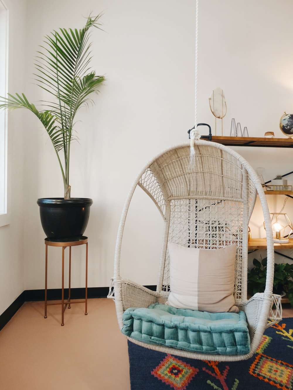 beige and blue egg chair near black potted plant