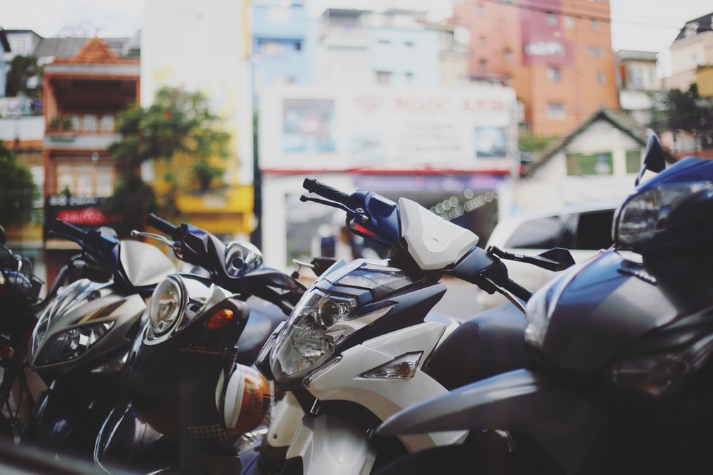 black and white motorcycle