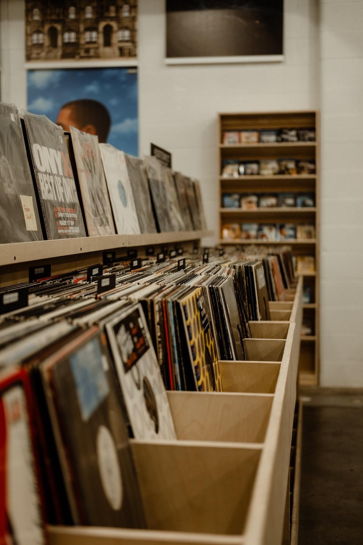 brown wooden vinyl rack