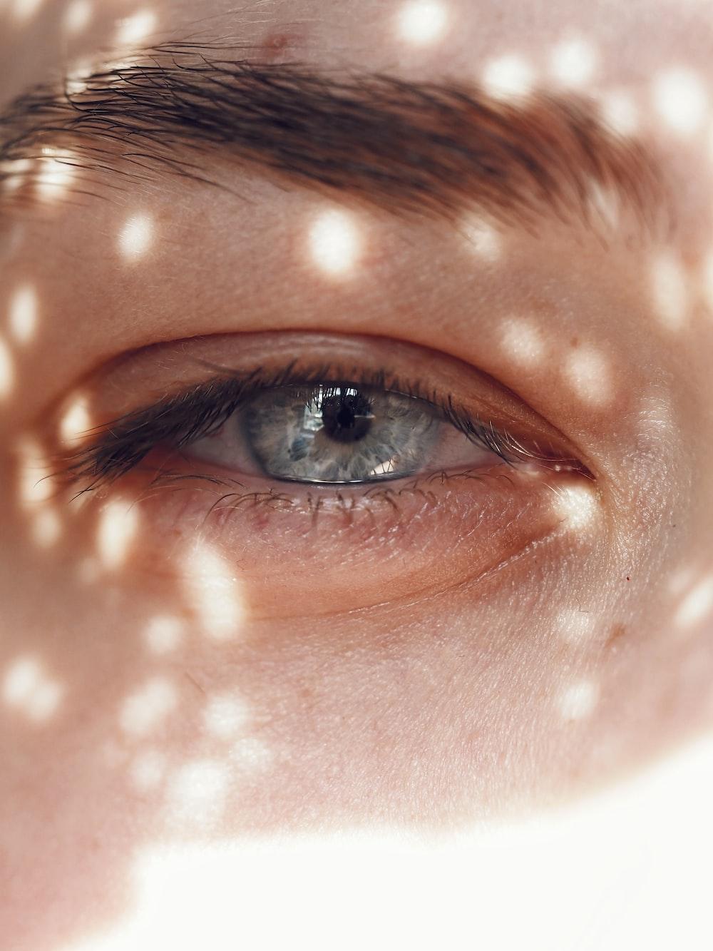 close-up photo of human eyes