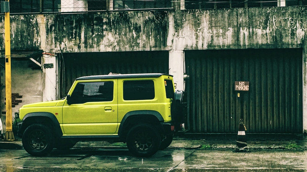 parked yellow car