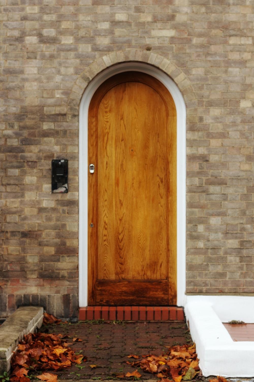 close brown door
