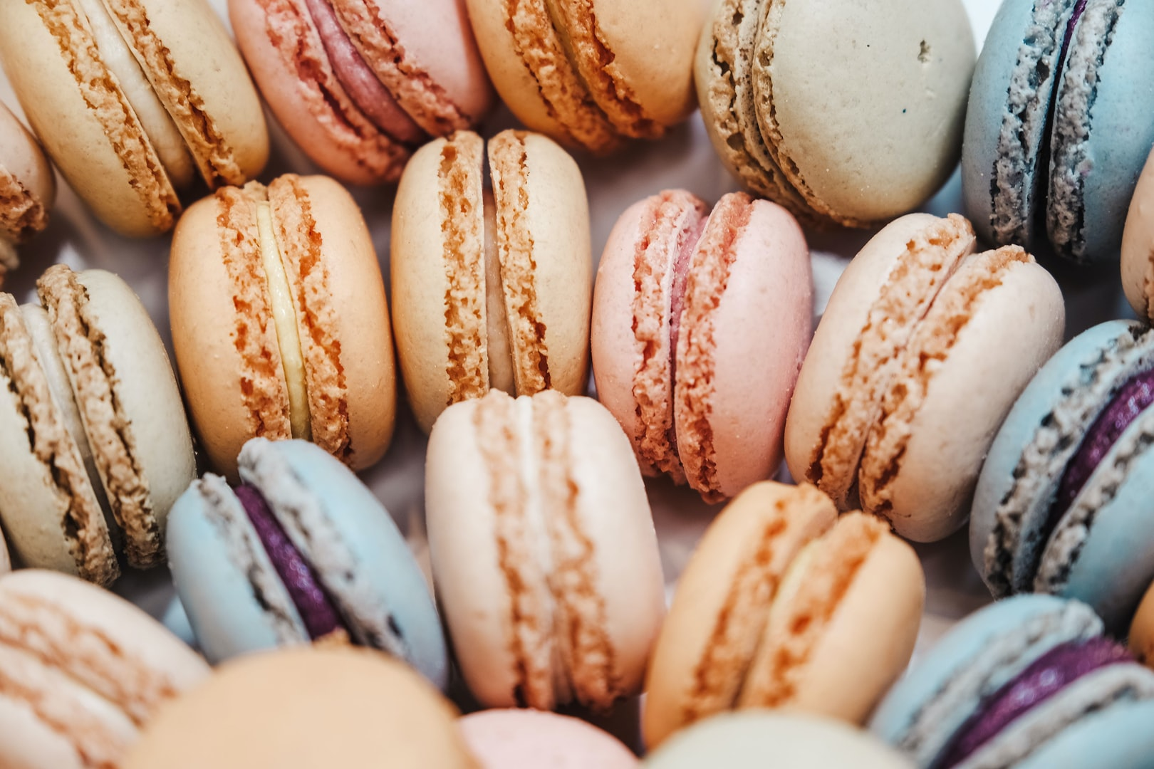 Cream-filled French macarons