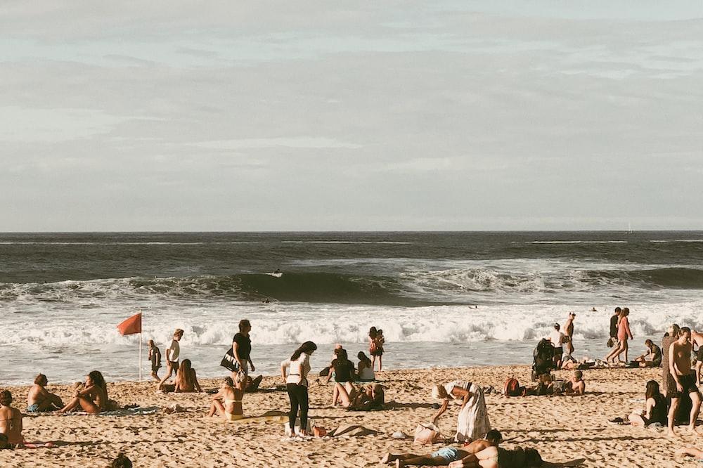 people near seashore viewing calm sea during daytime