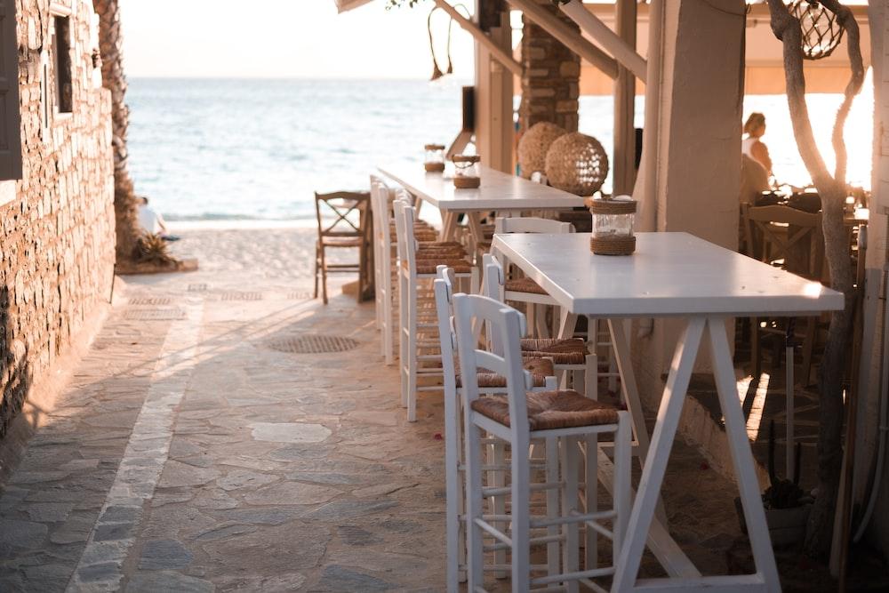 rectangular white wooden dining set