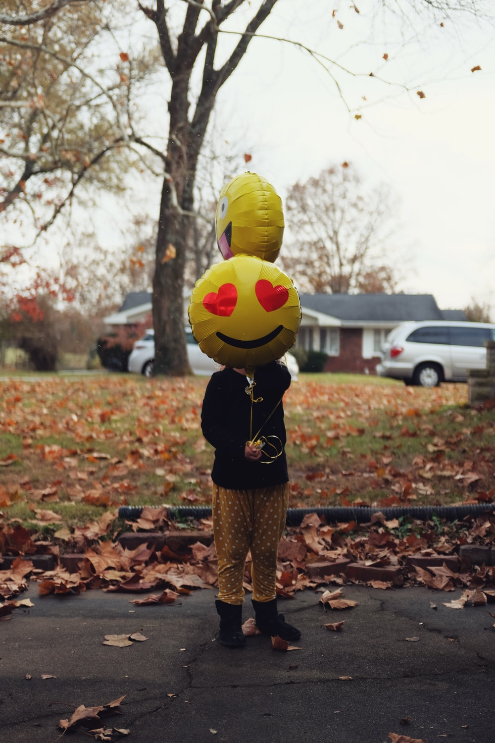person holding smiley balloons near tree