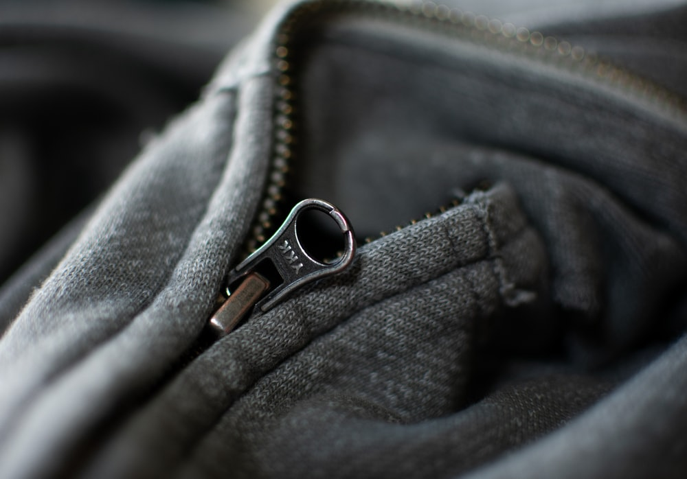 blue zip-up jacket