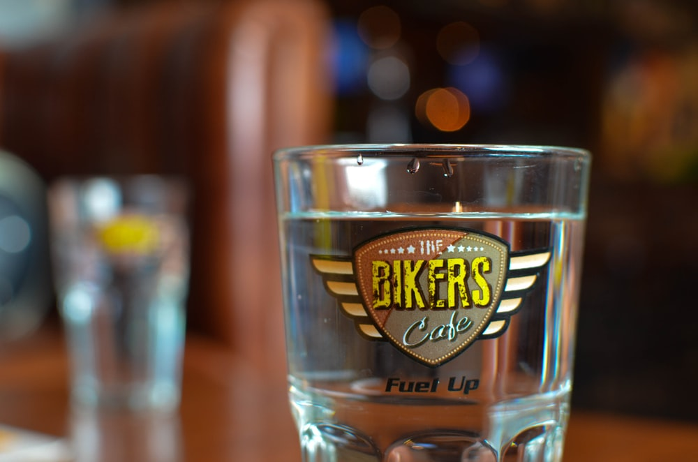 water in The Bikers cafe drinking glass