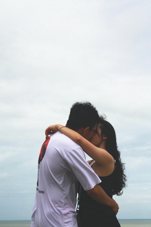 kissing man and woman