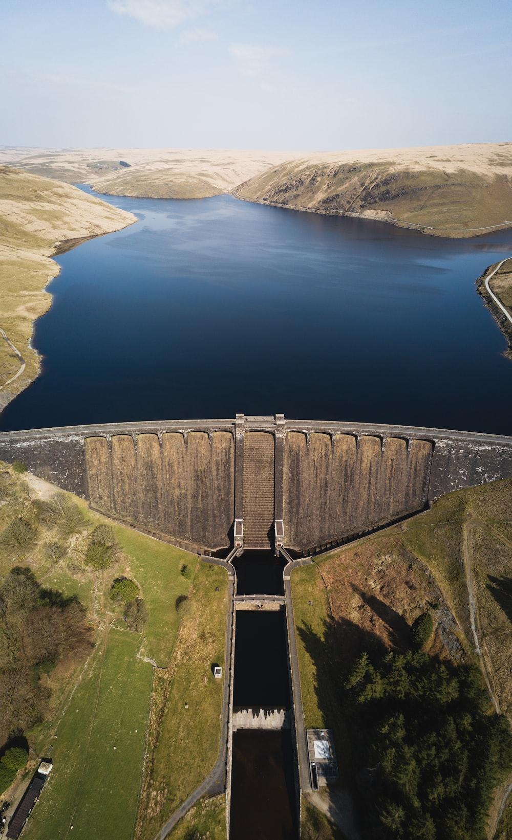 aerial photo of dam during daytime