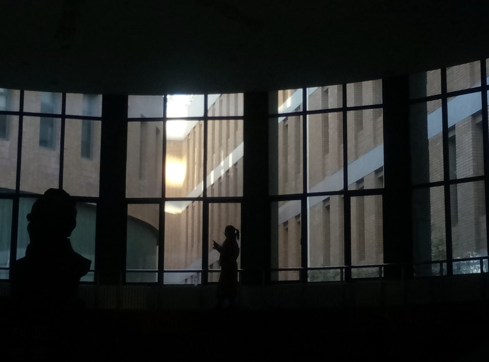 two people inside building