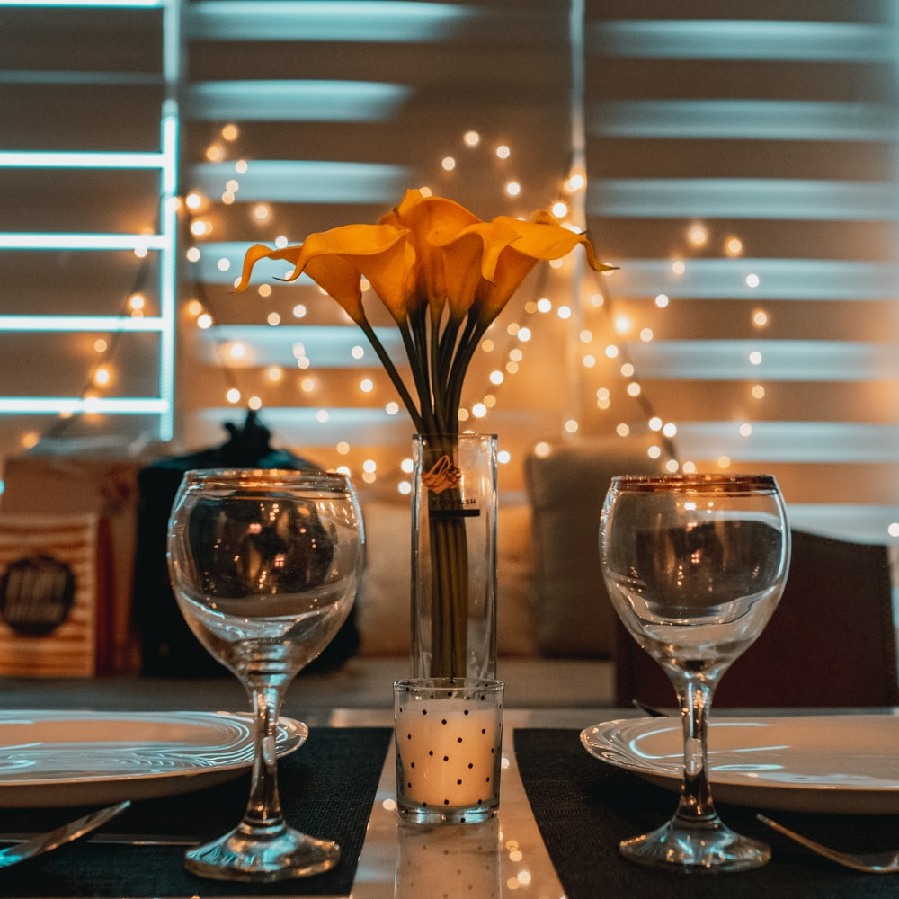 two clear wine glasses