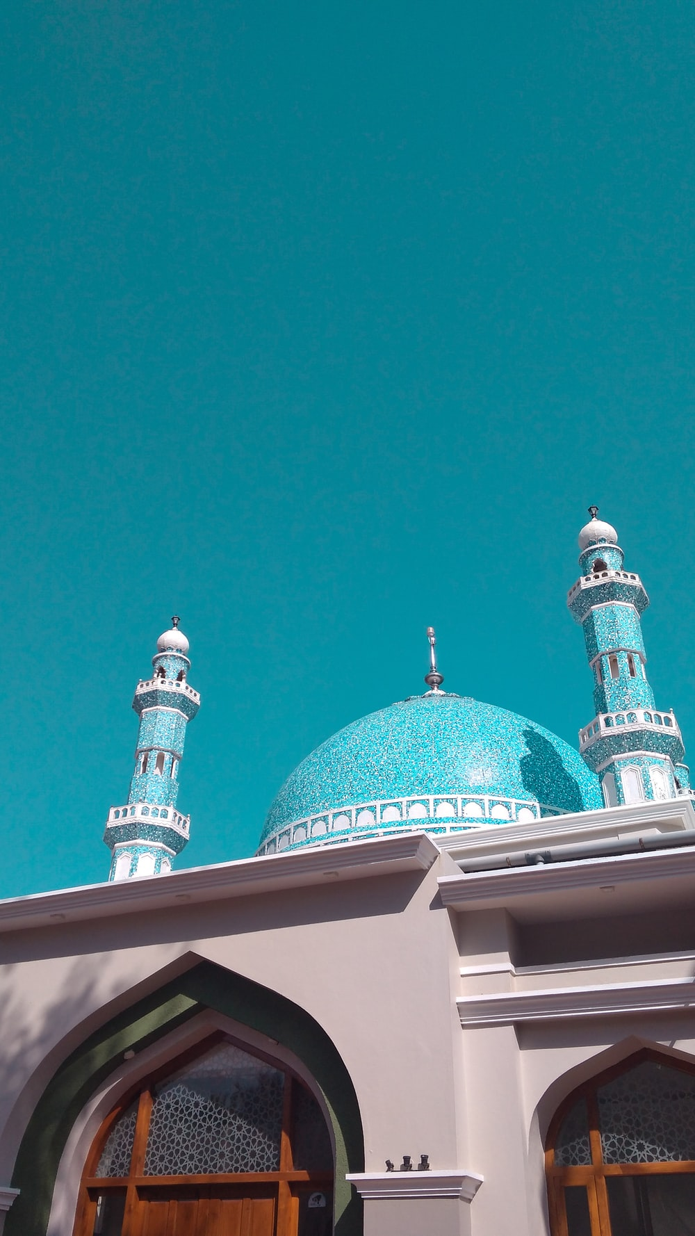 teal and white mosque
