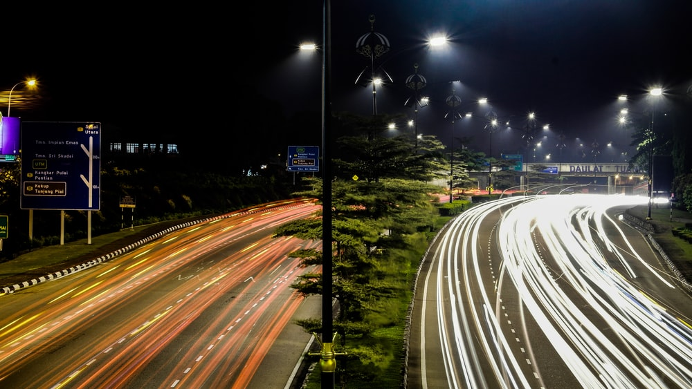 timelapse of vehicles on road