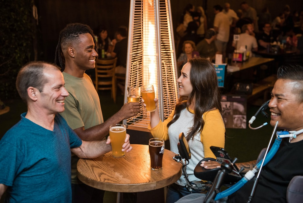 people drinking on bar