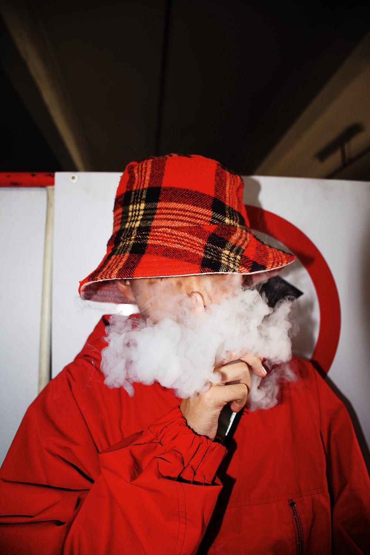 boy wearing red jacket