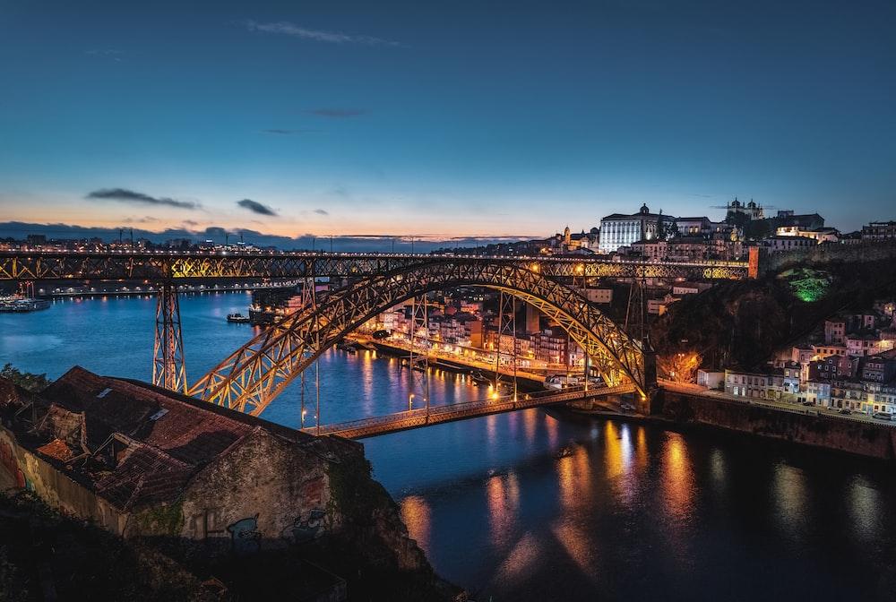 brown bridge with light