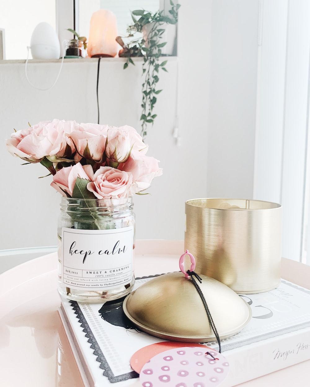 pink roses and white mason jar