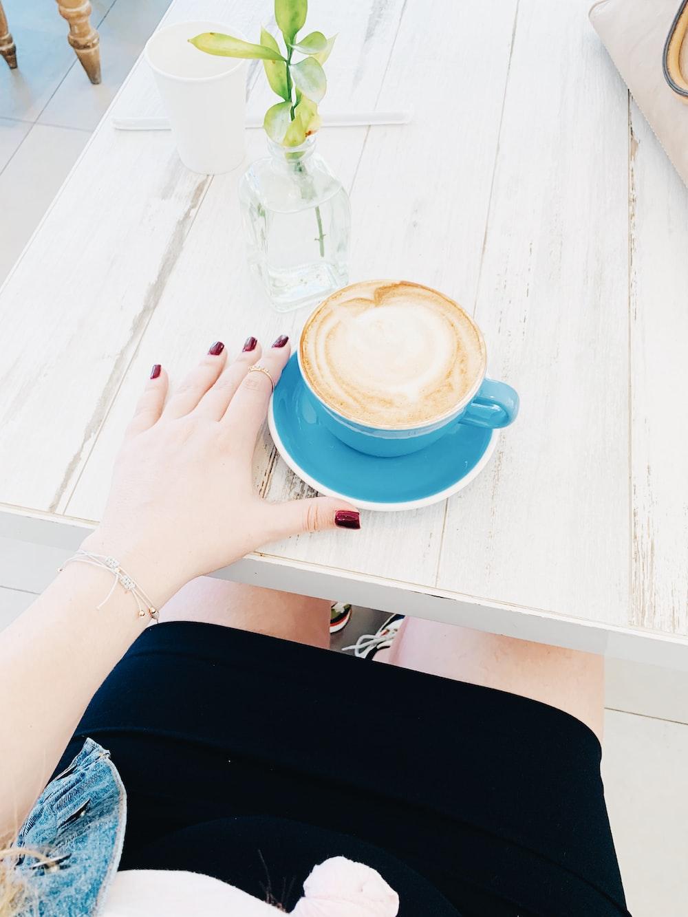 cappuccino in blue mug