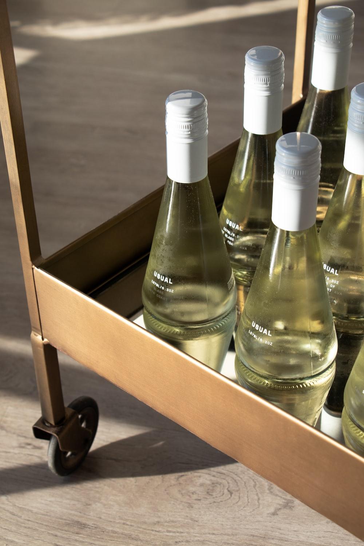 bottles on cart